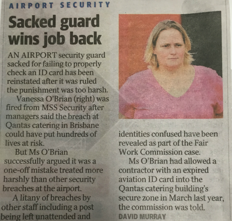 Sacked Guard Wins Job Back After Unfair
